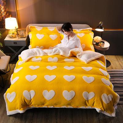 2021新款提花舒棉绒升级版系列四件套风格一 1.8m床单款四件套 车菊黄爱心