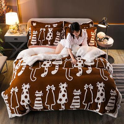 2021新款提花舒棉绒升级版系列四件套风格一 1.8m床单款四件套 焦糖猫