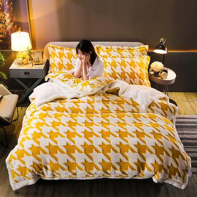 2021新款提花舒棉绒升级版系列四件套风格一 1.8m床单款四件套 亮黄千鸟格