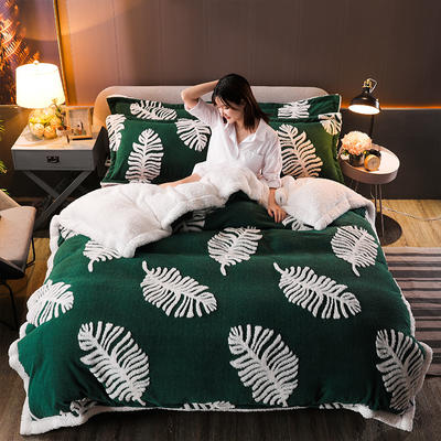 2021新款提花舒棉绒升级版系列四件套风格一 1.8m床单款四件套 墨绿芭蕉叶
