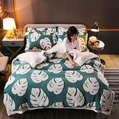 2021新款提花舒棉绒升级版系列四件套风格一 1.8m床单款四件套 墨绿龟背竹