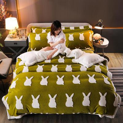 2021新款提花舒棉绒升级版系列四件套风格一 1.8m床单款四件套 牛油果绿兔影