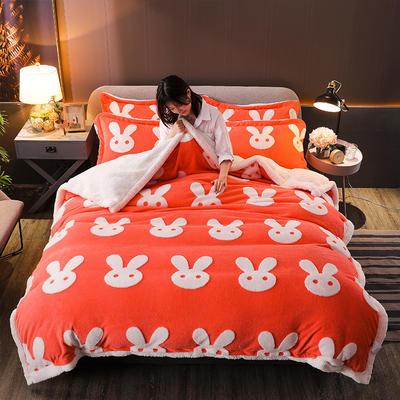 2021新款提花舒棉绒升级版系列四件套风格一 1.8m床单款四件套 珊瑚橘兔耳