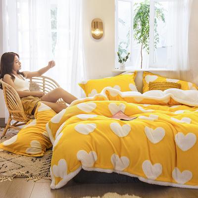 2021新款提花舒棉绒升级版系列四件套风格二 1.8m床单款四件套 升级版-车橘黄爱心