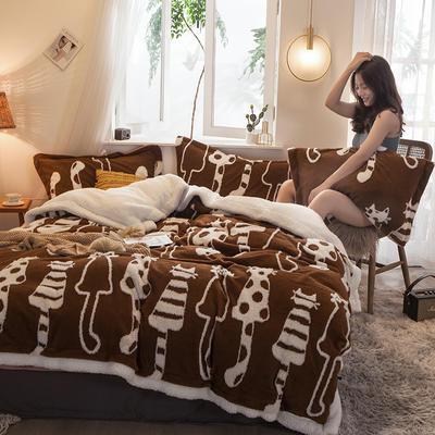 2021新款提花舒棉绒升级版系列四件套风格二 1.8m床单款四件套 升级版-焦糖猫