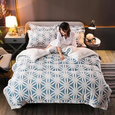 2021新款提花舒棉绒升级版系列四件套风格二 1.8m床单款四件套 升级版-蓝菱花