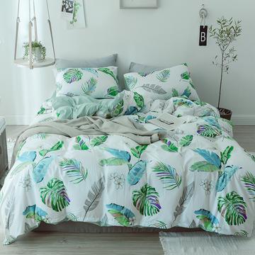 2018新款水洗棉四件套 1.2m(4英尺)床 绿叶