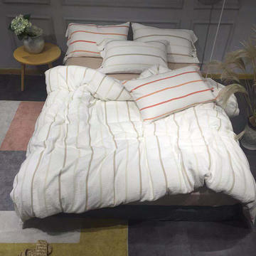 2018新款全棉日系高端提花系列四件套 1.5m(5英尺)床 竖线条 咖色