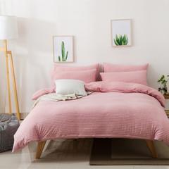 2018新款-针织四件套 1.2m(4英尺)床 粉白细条