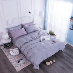 色织棉毛巾绣四件套 1.5m(5英尺)床 灰色