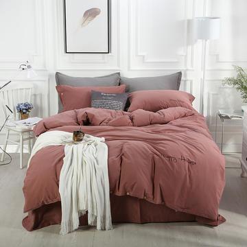全棉纽扣款水洗棉四件套 1.5m(5英尺)床 深豆沙