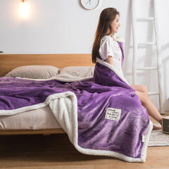 美式休闲复合毛毯风格二 100*120cm 香芋紫