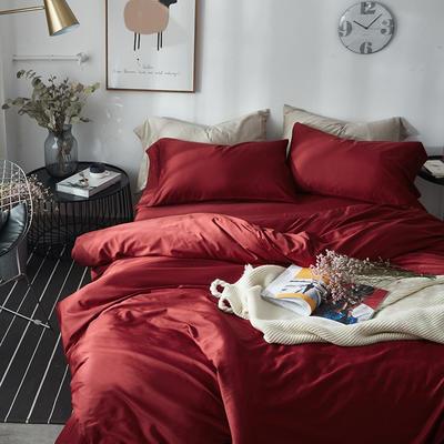 2018新款60支长绒棉纯色四件套 1.8m(6英尺)床 波尔多红
