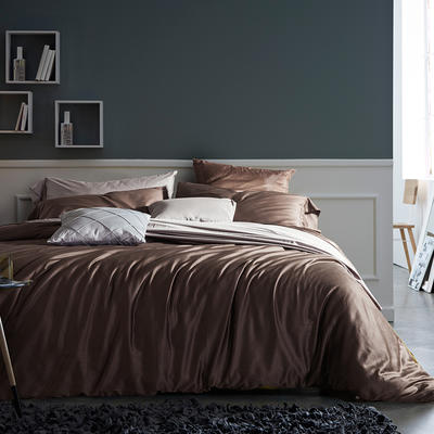 2018新款60支长绒棉纯色四件套 1.8m(6英尺)床 咖啡棕