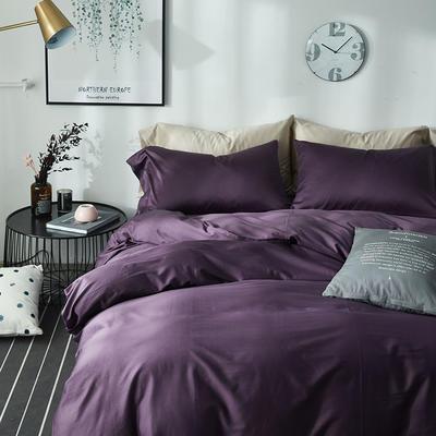 2018新款60支长绒棉纯色四件套 1.8m(6英尺)床 冷艳紫