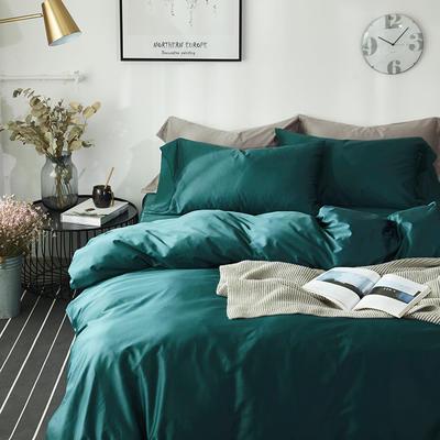 2018新款60支长绒棉纯色四件套 1.8m(6英尺)床 墨绿