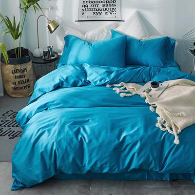 2018新款60支长绒棉纯色四件套 1.8m(6英尺)床 青春蓝