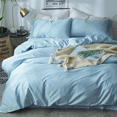 2018新款60支长绒棉纯色四件套 1.8m(6英尺)床 清澈蓝