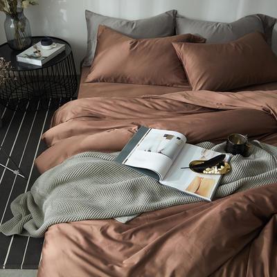 2018新款60支长绒棉纯色四件套 1.8m(6英尺)床 太妃咖
