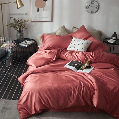 2018新款60支长绒棉纯色四件套 1.8m(6英尺)床 印第安红