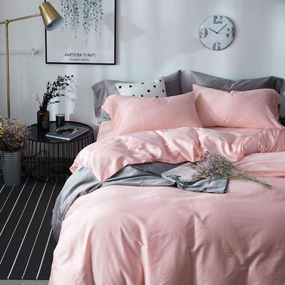 2018新款60支长绒棉纯色四件套 1.8m(6英尺)床 樱花粉
