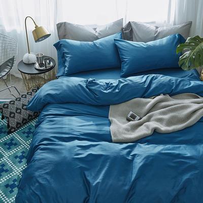 2018新款60支长绒棉纯色四件套 1.8m(6英尺)床 月光蓝