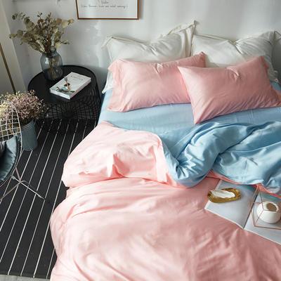 2018新款60支长绒棉拼色四件套 1.8m(6英尺)床 粉蓝双拼
