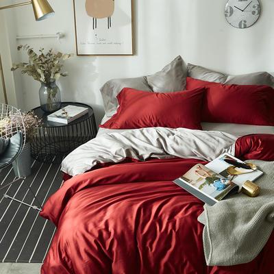 2018新款60支长绒棉拼色四件套 1.8m(6英尺)床 红灰双拼