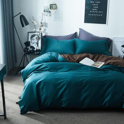 2018新款60支长绒棉拼色四件套 1.8m(6英尺)床 墨绿+咖啡棕