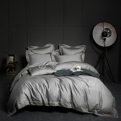 2018新款60支长绒棉刺绣四件套 凯撒 1.8m(6英尺)床 凯撒灰