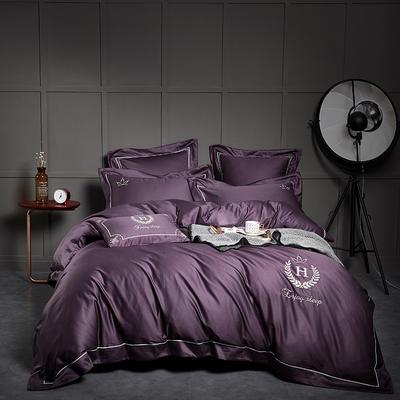 2018新款60支长绒棉刺绣四件套 凯撒 1.8m(6英尺)床 凯撒冷艳紫