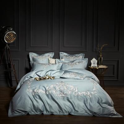 2018新款60支长绒棉刺绣四件套 克里斯蓝 1.8m(6英尺)床 克里斯蓝
