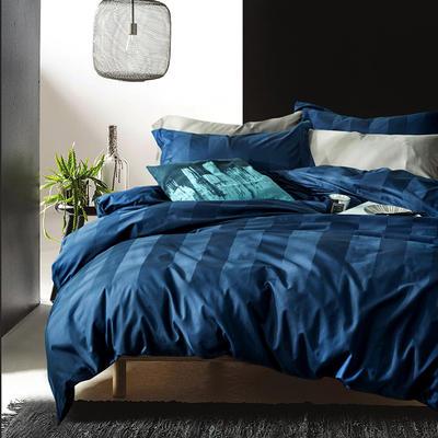 2018新款60支长绒棉贡缎提花酒店风深蓝条纹四件套 1.8m(6英尺)床 深蓝条纹
