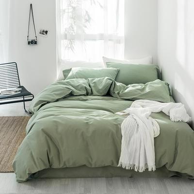 2018新款秋冬纯棉加厚磨毛纯色四件套 1.8m(6英尺)床 清绿