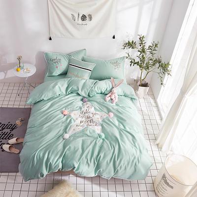 2018新款60支长绒棉贡缎刺绣四件套 星空 1.8m(6英尺)床 星空-绿