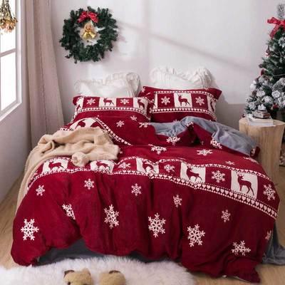 2018新款加厚保暖牛奶绒四件套 1.5m(5英尺)床 杰瑞(红色)