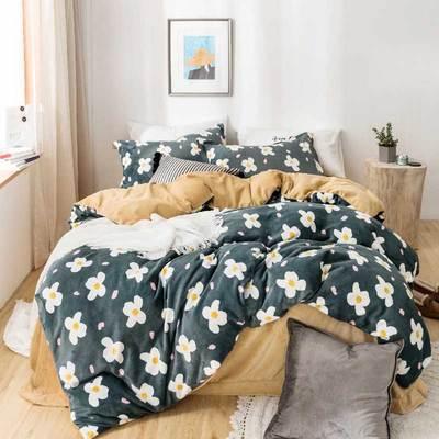 2018新款加厚保暖牛奶绒四件套 1.5m(5英尺)床 安妮(绿色)