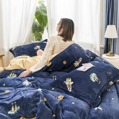 2019新款牛奶绒四件套 1.2m床单款三件套 星空