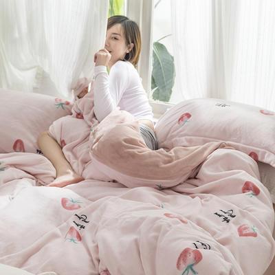 2019新款加厚保暖牛奶绒四件套 1.8m床笠款 贝蒂(粉)