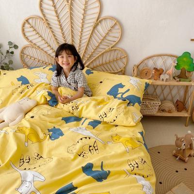 2020新款-13372全棉四件套 床单款四件套1.5m(5英尺)床 猫咪喵喵
