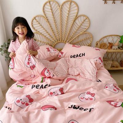 2020新款-13372全棉四件套 床单款四件套1.5m(5英尺)床 蜜桃屁屁