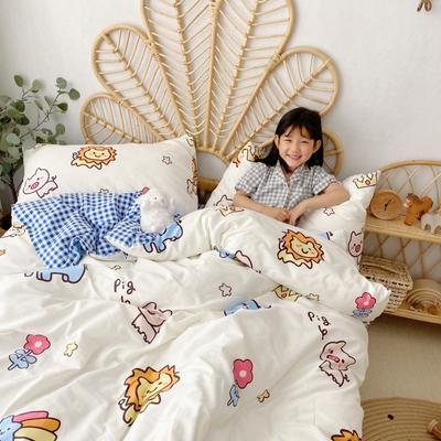 2020新款-13372全棉四件套 床单款四件套1.5m(5英尺)床 狮子与象