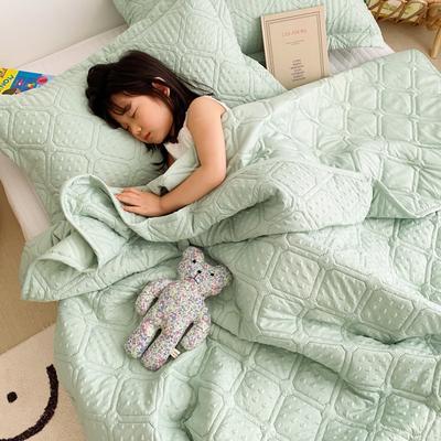 2020新款爱心泡泡夏被床盖三件套 200X230cm三件套 橄榄绿