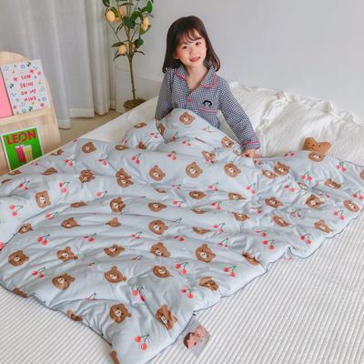 2020新款婴儿裸睡级春秋被被子被芯 150*200cm 樱桃熊蓝