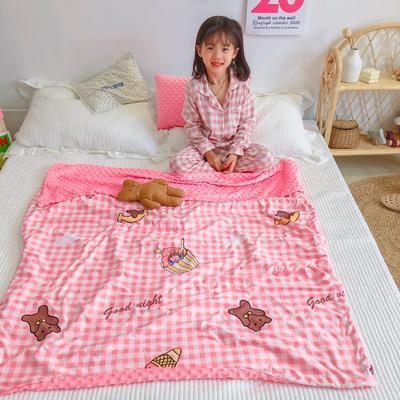 2020新款A 类 针 织 棉+豆 豆 绒 70 x 120cm 粉格小熊