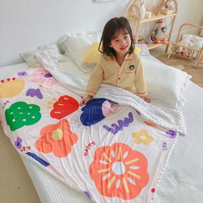 2020新款A 类 针 织 棉+豆 豆 绒 70 x 120cm 花儿朵朵