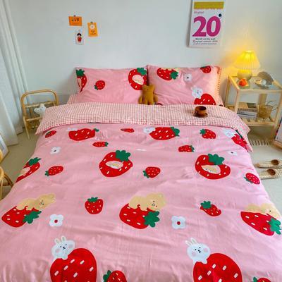 2020新款全棉13070开学季四件套 1.5m床单款四件套 草莓熊