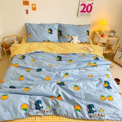 2020新款全棉13070开学季四件套 1.5m床单款四件套 恐龙橘子