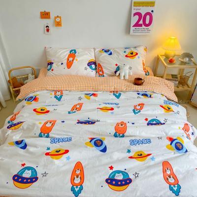 2020新款全棉13070开学季四件套 1.5m床单款四件套 漫游太空