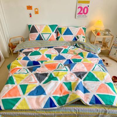 2020新款全棉13070开学季四件套 1.5m床单款四件套 三角几何